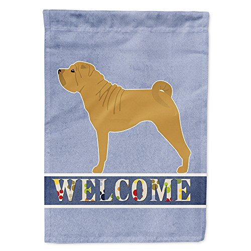 Caroline's Treasures BB5556GF Shar Pei Merry Garden Size Welcome Flag, Small, Multicolor