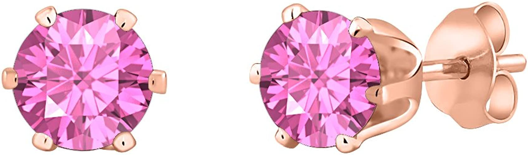 tusakha Fancy Party Wear Princess Cut Yellow Sapphire Solitaire Stud Earrings 14K Rose Gold Over .925 Sterling Silver For Womens /& Girls 3MM TO 10MM