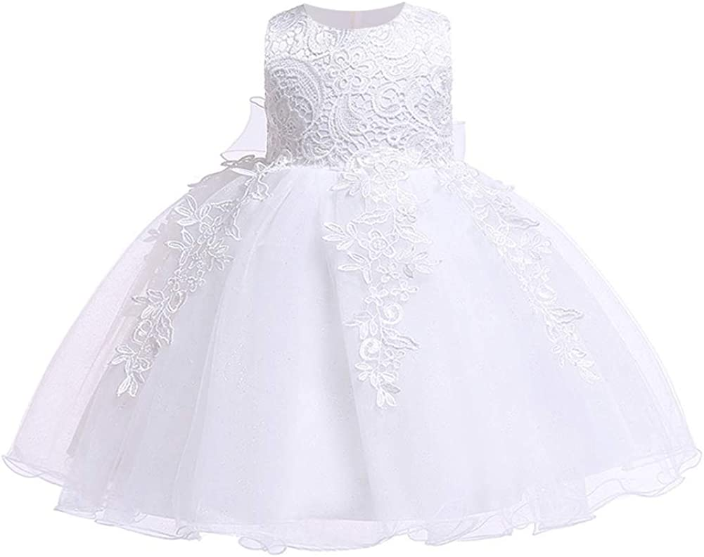 LZH Baby Girls Formal Dress Bowknot Birthday Wedding Party Flower Lace Dress
