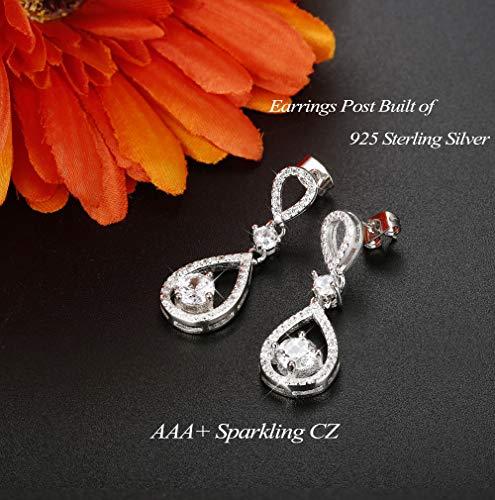 Udalyn Teardrop Dangle Wedding Earrings for Women Silver CZ Drop Earrings Prom Bridesmaid Jewelry Earrings by Udalyn (Image #5)