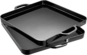 i BKGOO Foodservice Black Plastic Tray with Handle Set of 2 Large Melamine Cube Serving Platters for Parties, Table, Kitchen Size(12.5