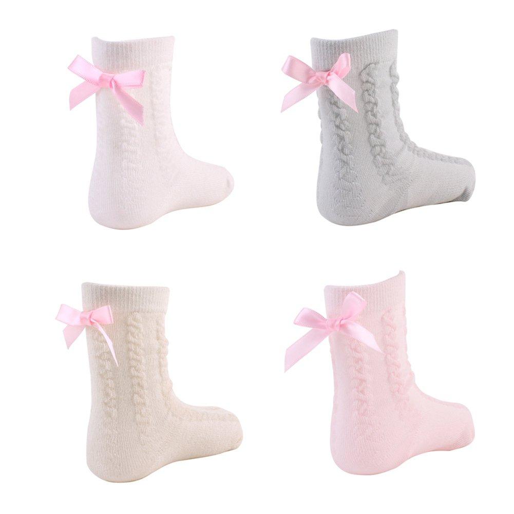 Bluelans Toddler Socks Infant Baby Kids Girls Socks Combed Cotton Socks Winter Socks Lace Bow School Socks for 0-4 Years Baby Girls