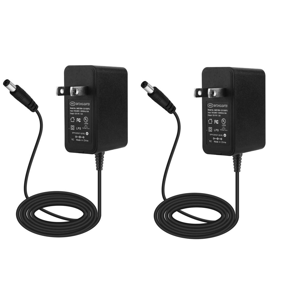 ALSISK 12V 1A Switching Power Supply Adapter - 2 Pack