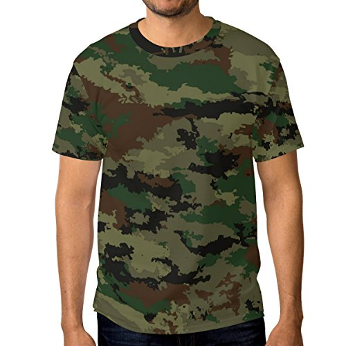 Men Camouflage Military Background T-Shirt Printed Short-Sleeve Crewneck Fan S Tee Shirt