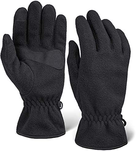 Winter Fleece Touchscreen Gloves for Men /& Women Warm /& Soft Black Thermal Gloves for Cold Weather