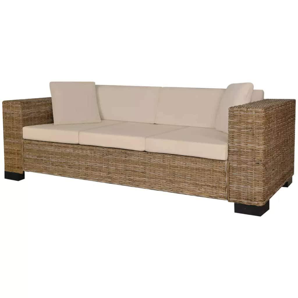 Tuduo Sofabe-Set 200 x 80 x 61 cm (BxTxH) 3-Sitzer 8-teilig bequem und waschbar echtes Rattan, hervorragende Ergänzung zu Ihrem Haus, Kissenstärke 5 cm