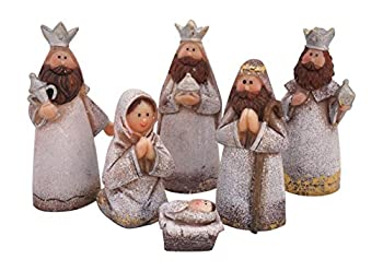 Silver Shimmer Kids Christmas Nativity Set, Set of 6 Rearrangeable Figures