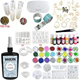 INNICON 250g Transparent Ultraviolet Resin 13 Liquid Epoxy Tint 18 Silicone Molds 12X Powder Accessories Dried Flower 14 Open Back Bezels Traceless Tape Lamp For DIY Necklaces Bracelets Charms