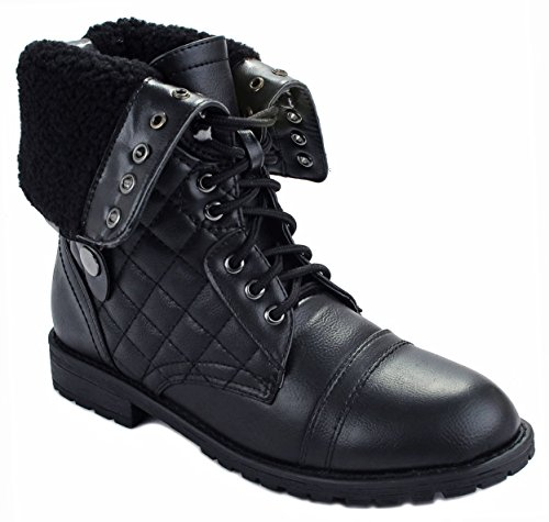 JJF Shoes Women Holly09 Black Military Combat Foldable Cuff Faux Leather Quilted Back Zipper Lace up Boots-8 ()