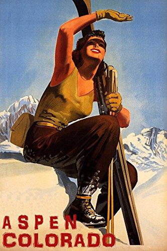 Aspen Ski Posters - Winter Sport with Sun Aspen Colorado SKI Mountains Woman Skiing Travel 20