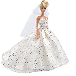E TING Barbie Fashionista Handmade Clothes 1 Pcs Party Gown Dresses White Sequined Long Tail Wedding Dress For Doll Dolls Gift