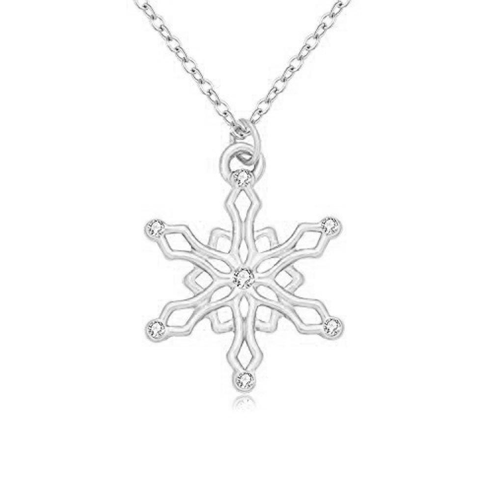 RUXIANG Crystal Hexagonal Diamond Snowflakes Flower Geometric Pendant Necklace