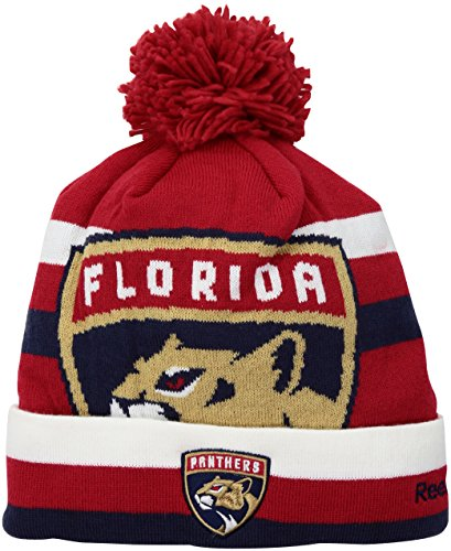 fan products of NHL Florida Panthers SP17 Striped Cuffed Knit Pom Headwear, Red, One Size