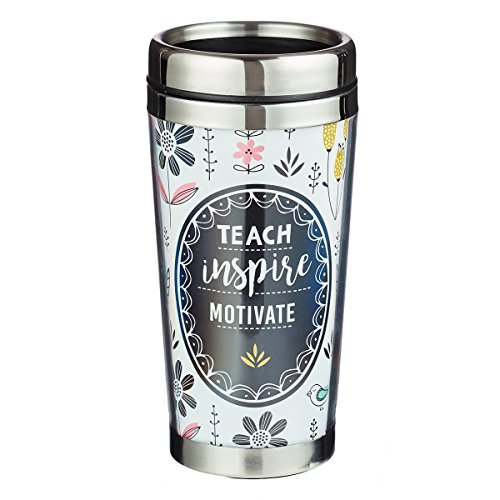 Teach Inspire Motivate Black Travel Coffee Mug Thermal Tumbler with Design Wrap, Lid and Stainless Steel Interior (16oz Vacuum Insulated Break Resistant Polymer Exterior)]()