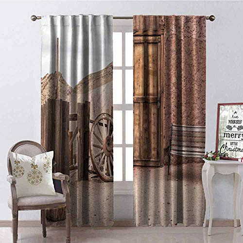(GloriaJohnson Barn Wood Wagon Wheel Wear-Resistant Color Curtain Abandoned Old Farmhouse Doorway Traditional Rustic Outdoors Waterproof Fabric W52 x L72 Inch Umber Light Brown)
