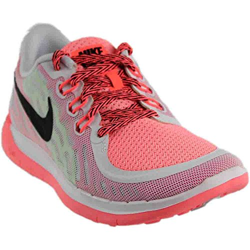 Nike Youth Girls Free 5.0 Running Shoe,White/Black/Pink Lava, 6