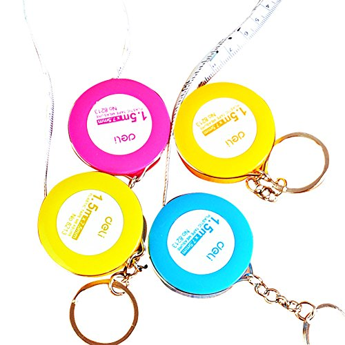 (Tengfos Candy-Colored Keychain Tape Measure 1.5 M Measuring Tape with Keyring for for Men and Wome-Random Color 4.5×0.75CM)
