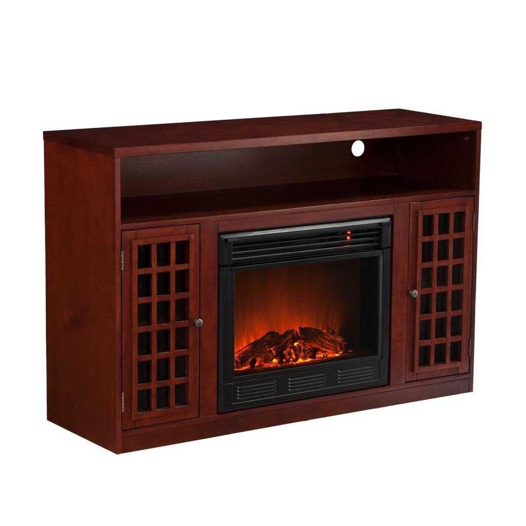 Sei Narita Media Console With Electric Fireplace Mahogany Kitchen Dining