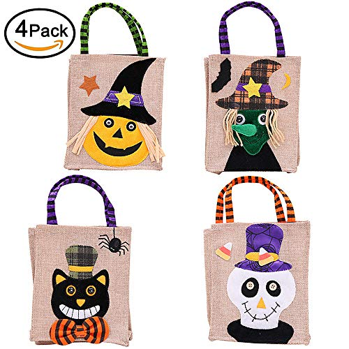 Lakem Halloween Tote Bag Trick or Treat Bag, Reusable Halloween Candy Bags, Cartoon Pumpkin Bag for Kids Halloween Themed Party - 4 Pack (4 Color)
