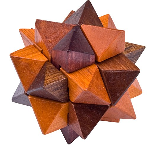 AHYUAN Handmade Pyramid Puzzle Wooden Star Brain Teasers IQ Toy Intelligence 3D Game Puzzle for Adults/Kids -