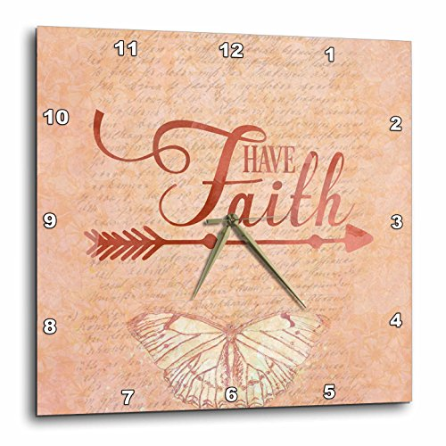 3dRose Andrea Haase Inspirational Typography - Typography Have Faith With Butterfly - 15x15 Wall Clock (dpp_282571_3) by 3dRose