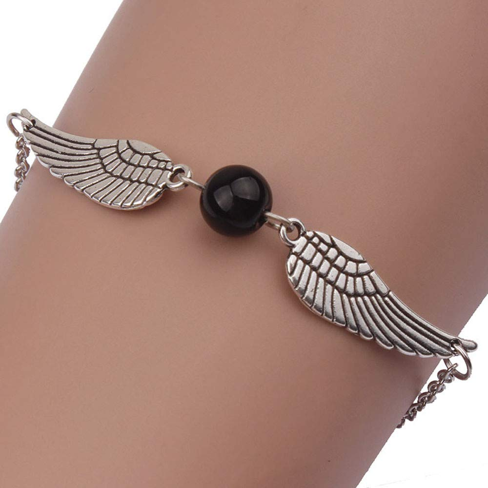 NewlyBlouW Fashion Womens Bracelet, Infinity Retro Pearl Alloy Angel Wings Rope Chain Jewelry Dove Peace Bangle Black
