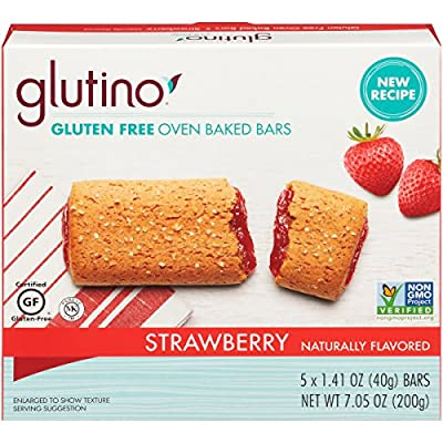 Glutino Gluten Free Oven Baked Bar, Strawberry, Naturally Flavored, 5 Count