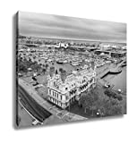 Ashley Canvas Barcelona Harbor And Port Vell From Columbus Statue Viewpoint Spain, Wall Art Home Decor, Ready to Hang, Black/White, 16x20, AG6378244