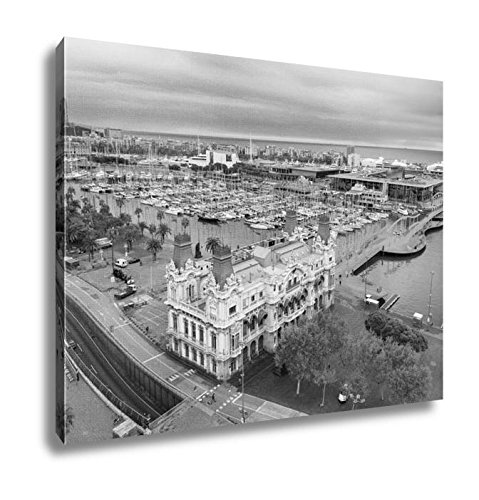 Ashley Canvas Barcelona Harbor And Port Vell From Columbus Statue Viewpoint Spain, Wall Art Home Decor, Ready to Hang, Black/White, 16x20, AG6378244 by Ashley Canvas