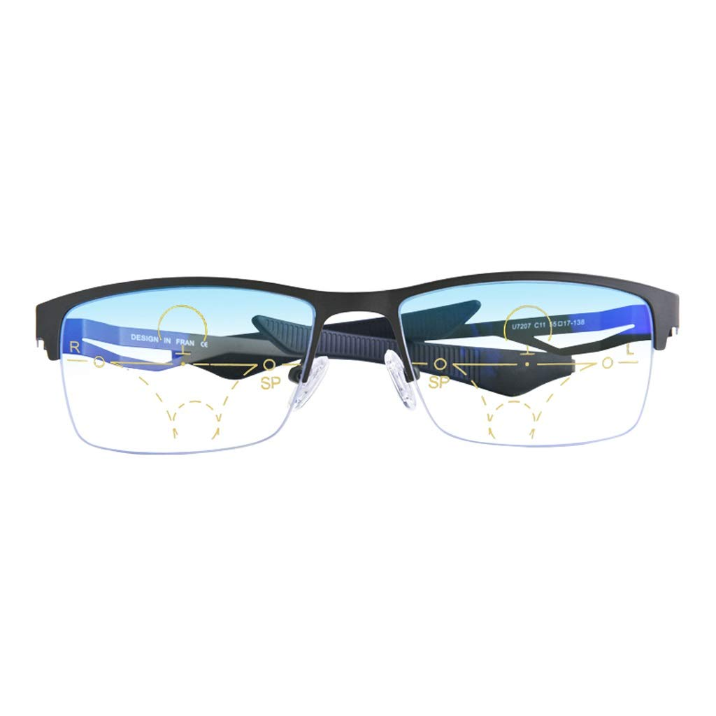 LHR888 Half Frame Presbyopia Smart Zoom Lontano e Vicino a Doppio Uso Spec o Multi Moda per Uomo ( Coloree   blu , Dimensione   300 Degrees )
