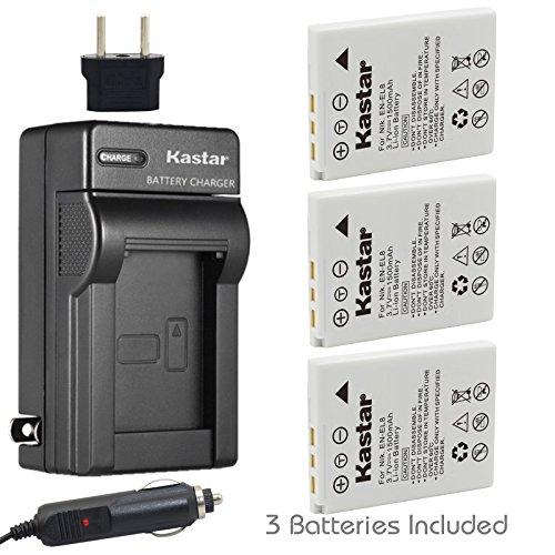 Kastar Battery 3x + Charger for Nikon EN-EL8 Coolpix P1 P2 Coolpix S1 S2 S3 S5 Coolpix S6 Coolpix S7 S7c Coolpix S8 Coolpix S9 Coolpix S50 Coolpix S51 S51c Coolpix S52 S52c Cool-Station MV-11 MV-121