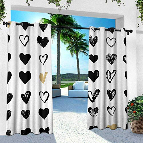 Hengshu Love, Outdoor- Free Standing Outdoor Privacy Curtain,Small Heart Icons Valentines Theme Stylized Hipster Liking Spouse Couples Design, W108 x L84 Inch, Tan Black White]()