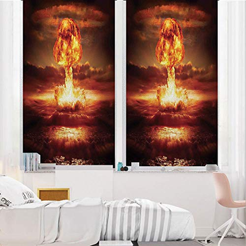 - Country 3D No Glue Static Decorative Privacy Window Films, Bomb in The Ocean Fusion Radioactive Weapon Apocalypse Illustration Print Decorative,24