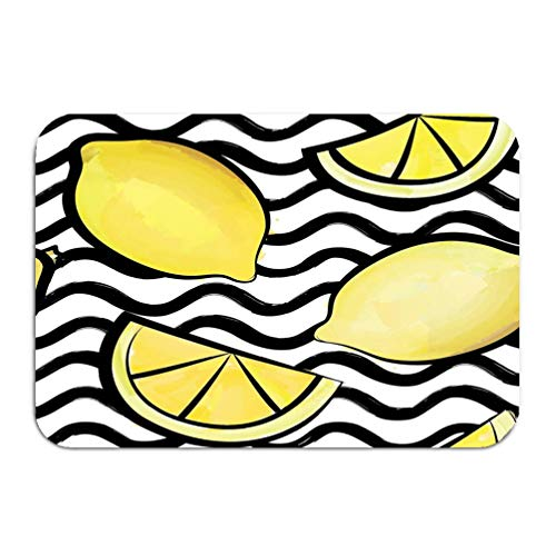 Outside Shoe Non-slip Color Dot Doormat wave tile pattern tropical fruit lemon ornamental wallpaper abstract seamless stylish geometric background food stripe Mats Entrance Rugs carpet 16 24 inch