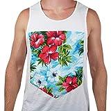Allywit-Mens Casual Summer Large Pocket Print Hawaiian Beach T Shirt Tank Tops Vest Blouse White