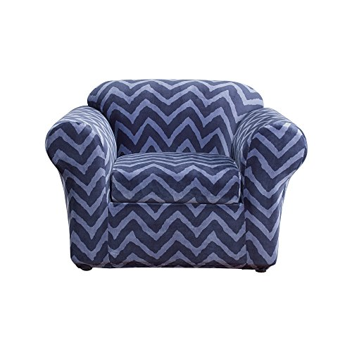 Sure Fit Stretch Plush Chevron 2-Piece - Chair Slipcover  - Indigo (SF44690)