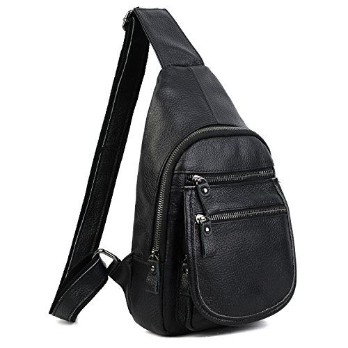 YALUXE Sling Bag Genuine Leather Chest Shoulder Backpack Cross Body Purse Anti Theft For Travel Hiking School Black Leather Mini Sling