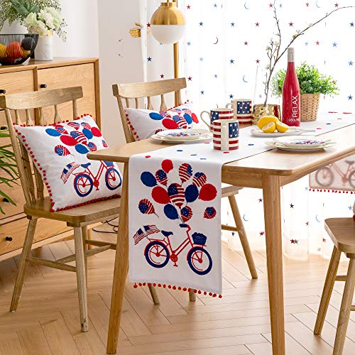Cassiel Home 4th of July Independence Day Table Runner 14x72| Patriotic Decorations Embroidery Bycicle American Flag Balloon| Memorial Day Flag Day Patriotic Day Veterans Day