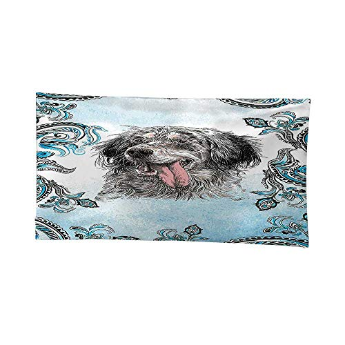 English Tapestry Setter (Art Decorative (72W x 54L Inch) Wall Hanging Bedspread multi purpose tapestries Animal English Setter Cute Young Funny Pet Ethnic Tribal Bohemian Hippie Indian Yoga Mandala Blue Gray White Black.)