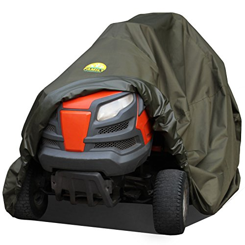 Waterproof Lawn Mower Cover by Family Accessories - Best Quality, Heavy Duty, Durable, UV and Water Resistant Cover for Your Riding Garden Tractor - Up to 54