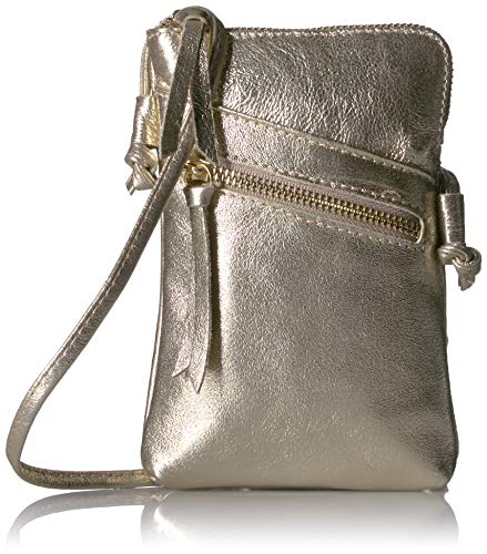 MONAHAY Small Italian Leather Cross Body Cell Phone and Passport Travel Pouch Bag MH9723 ... (Metallic Gold)