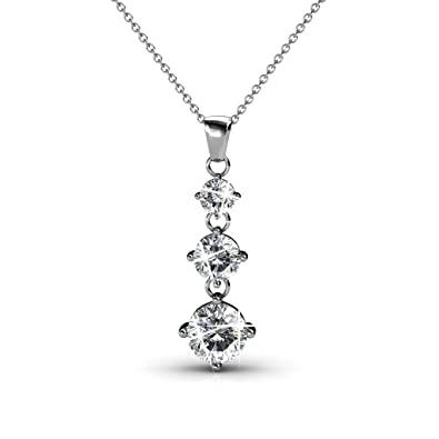 0f144e881a0 Cate & Chloe Delilah 18k White Gold Chain Pendant Necklace with Swarovski  Crystals, Round Cut
