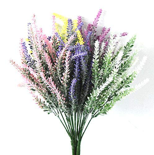 DearHouse 5 Bunches Artificial Flowers Flocked Lavender Bouquet Artificial Plant fake Lavender Flowers Arrangements for Bridal Home,Wedding,Party,Garden(Multicolor) from DearHouse