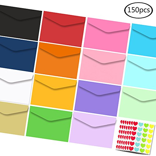 "JPSOR Small Colored Self-Adhesive Envelope - 150pcs 3.2""x4.5"" Gift Card Envelope in 15 Colors with 168 Heart Stickers"