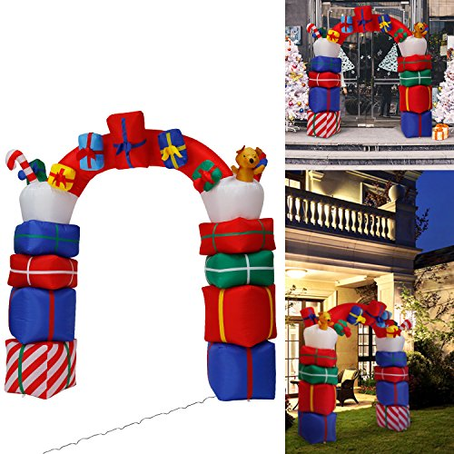 Kinbor Christmas Inflatable Outdoor Indoor Perfect for Blow Up Yard Decoration, Indoor Outdoor Yard Garden Christmas Decoration (Inflatable Christmas Arch)