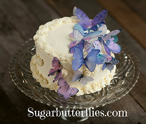 Edible Wafer Lavender Purple Butterfly- Cake/cupcake Toppers Collection of 15]()