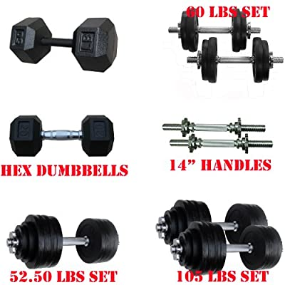 Yes4All 40 lbs, 50 lbs, 52.5 lbs, 60 lbs, 105 lbs Adjustable Cast Iron Dumbbells, 45, 50 lbs Hex Dumbbells (the XX.01s), 20, 25, 30 Rubber Coated Hex Dumbbells (the XX.02s), and Dumbbell Handles - Gym Quality Dumbbells! from Yes4All