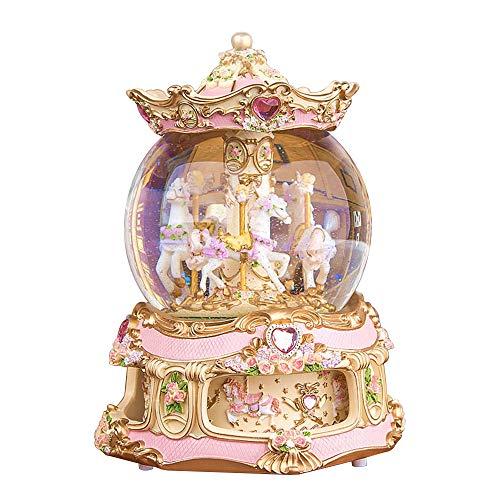 (LUCKSTAR Rotate Music Box- Fantasy European Style Revolving Wooden 3-Horse Crystal Ball Musical Box,Home Resin Craftwork (Pink) )