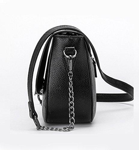 Xiaolong Lingge Crossbody black De Darkgreen Cuero Coreana Nuevo Bolso Señora Bag Bandolera Cadena Zrq6TZ8
