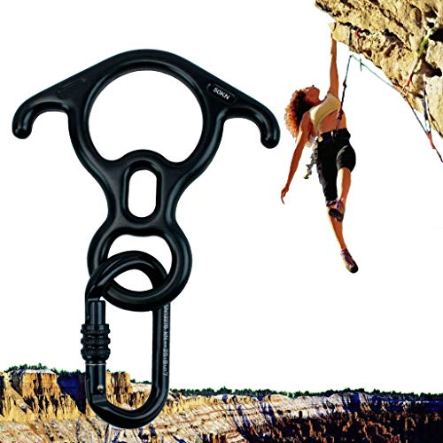 Geelife 50KN Rock Climbing Terminal Figure 8 Descender Rescue Belay Device Stop Descender and Carabiner Rock Rappelling Gear (Black)